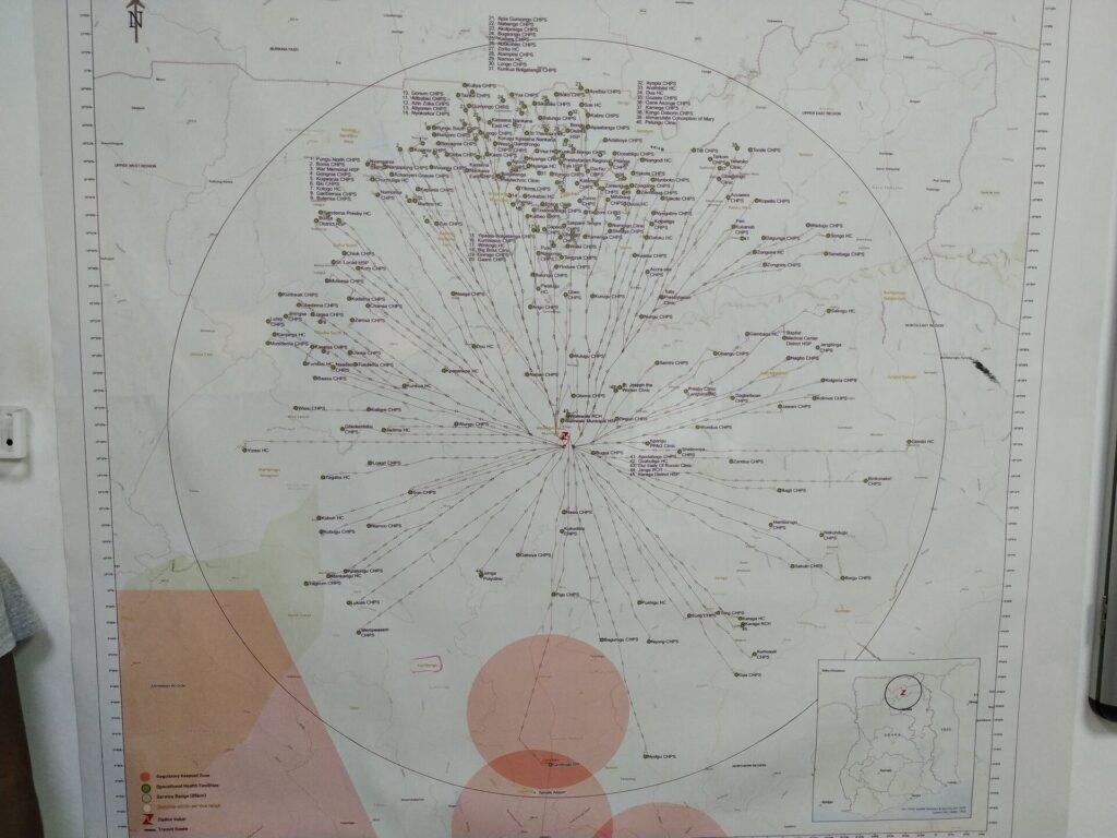 Zeichnung der Flugrouten und Liefergebiete